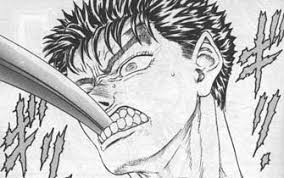 guts with a sword in his mouth
