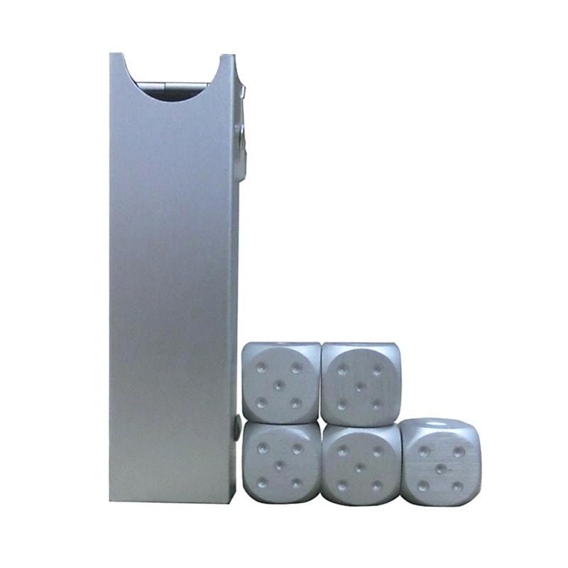 silver dice box