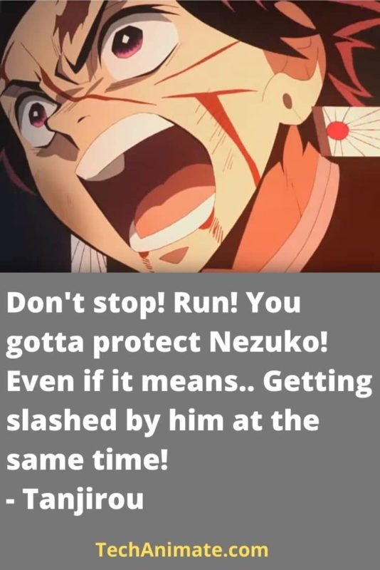 Don't stop! Run! You gotta protect Nezuko! Even if it means.. Getting slashed by him at the same time! - Tanjirou-min
