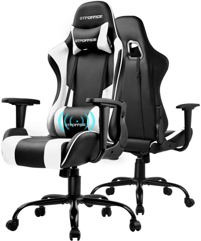 GTPOFFICE Gaming Chair Massage Office Computer Racing Chair for Adult Reclining Adjustable Swivel Leather Computer Chair High Back Desk Chair Headrest and Massage Lumbar Support Cushion