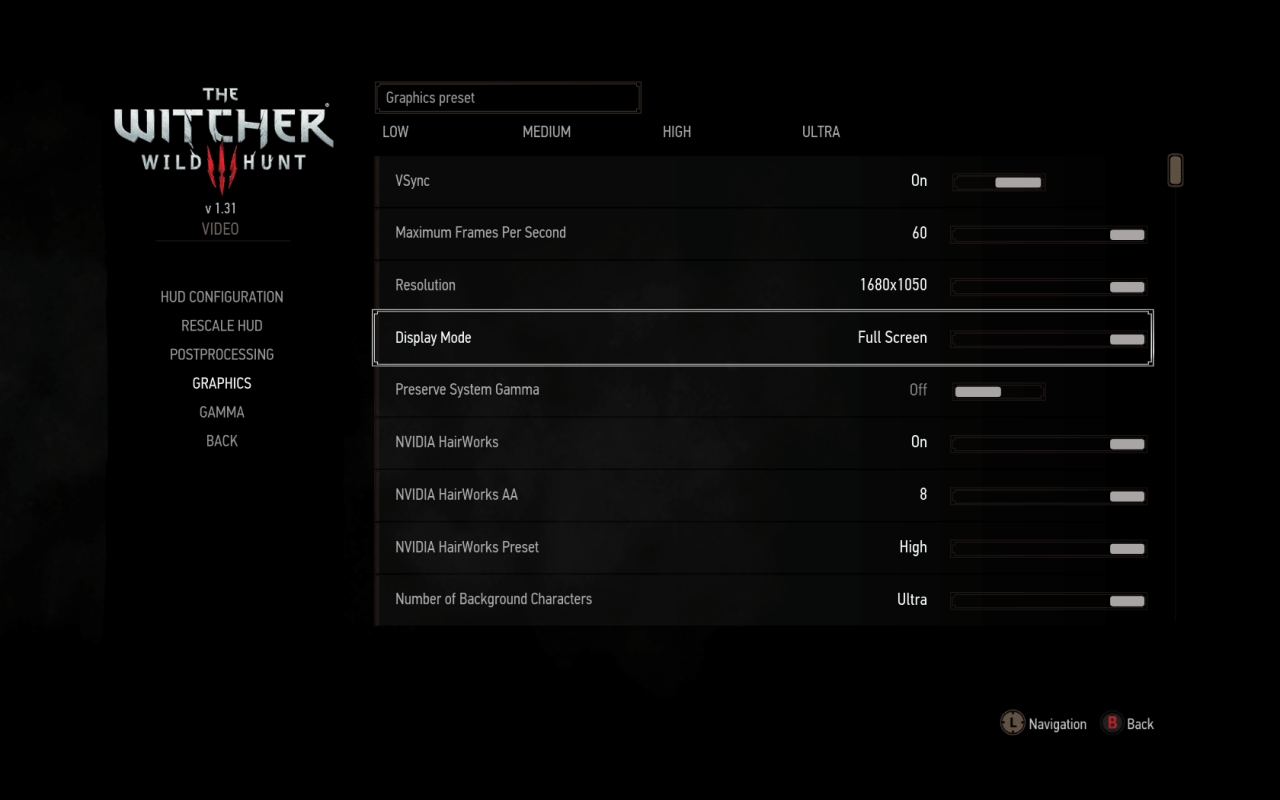 pc witcher 3 in game setting