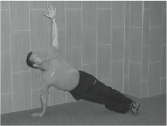 Hold for one minute on each side of the body.