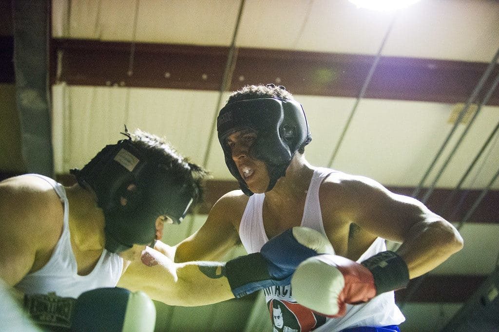 JOED VIERA/STAFF PHOTOGRAPHER Niagara Falls, NY-Brett Biro(blue) and  Mike Williams (red) trade blows during their boxing match at Casal's Boxing Gym.