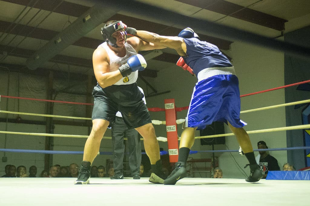 JOED VIERA/STAFF PHOTOGRAPHER Niagara Falls, NY- Rico Hernandez(red) and Nolan Smith(blue) trade blows during a boxing match at Casal's Boxing Gym.