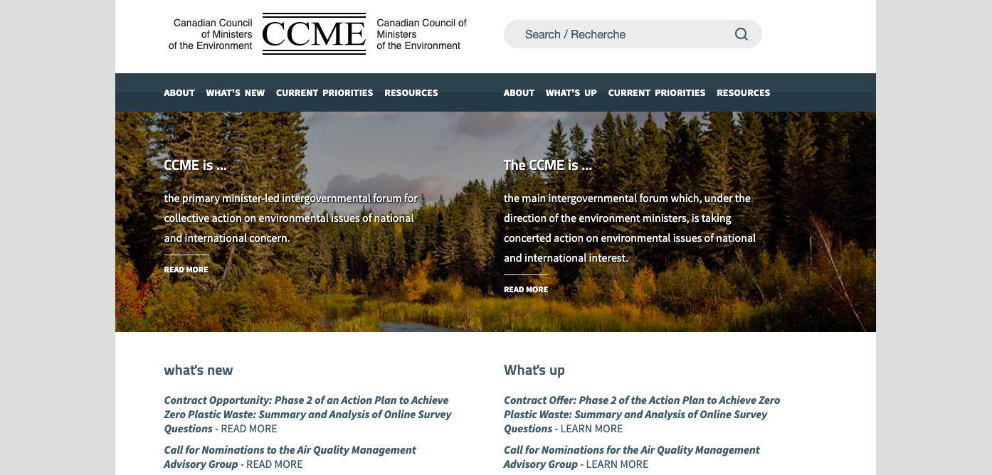 Canadian Council of Ministers of the Environment (CCME)