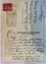 CARD: Postal, from Vilho Vaisala, 1939