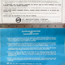 BATTERY: Radiosonde, Viz, Instructions