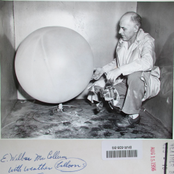 1956--E. Wilbur McCollum with Balloon and Radiosonde, by Walter McCardell Baltimore MD