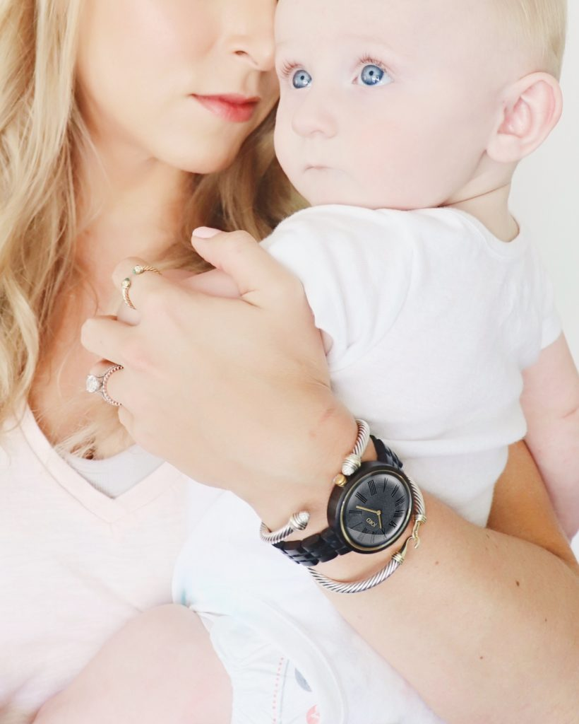 Life-Styled-by-ME-Blog-JORD-Cassia-Wood-Watch-Baby-Holding