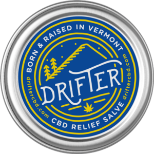 drifter cbd relief salve tin with label