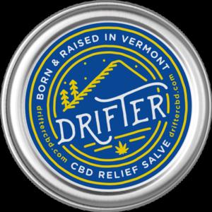 drifter cbd relief salve tin with label
