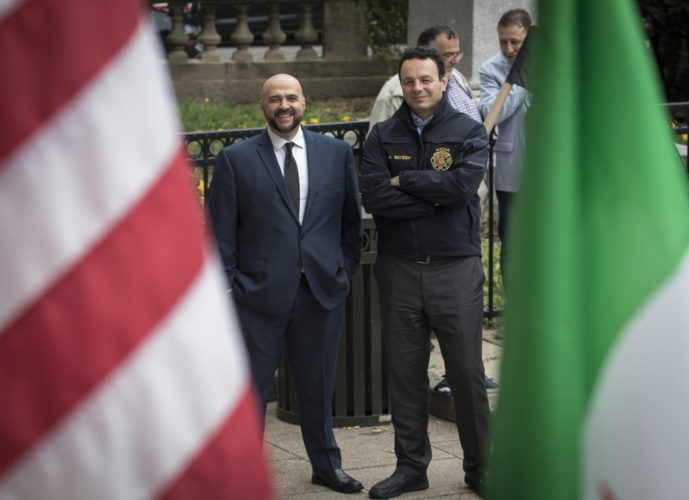 04-20-19 SOUTH PATERSON PROJECT/SYRIAN ANNIVERSARY : Prospect Park mayor Mohamed T. Khairullah, left, and Paterson mayor Andre Sayegh at the Syrian Independence flag raising ceremony at Paterson City Hall. Sayegh is of Lebanese and Syrian descent, and Khairullah was born in Syria.Evacuation Day is Syria's national day commemorating the evacuation of the last French soldier and Syria's proclamation of full independence and the end of the French mandate of Syria on April 17,1946, and does not correlate to the current political strife in Syria, This ceremony did NOT recognize the flag used by the Syrian Government, instead honored the flag used by the Syrian Opposition.   -photo by Thomas E. Franklin *PERMISSION GRANTED TO ROUND EARTH MEDIA