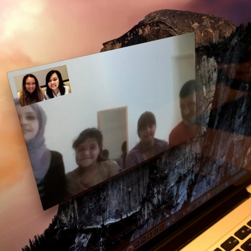 "NEW YORK 06-30-2017: The Al Rahmounds finally get to ""meet"" their sponsors, sisters Yudhisty Saridjo and Maiya Kim. They held a video chat with the help of a translator.The sisters, who are in New York City where they have a small online jewelry business called Saridjo and they donate 10% of all sales to HumanWire's Tent-to-Home program, has sponsored the family and enabled them to move into an apartment in Athens."