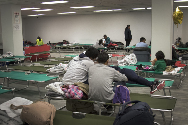 SAN DIEGO, CA  03-11-2019: The San Diego Rapid Response Network uses an old family court building in downtown to temporarily house asylum-seeking families once they are released by immigration authorities on San Diego streets.