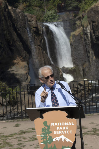 PATERSON, NJ  10-02-2019 NATURALIZATION CEREMONY AT GREAT FALLS:  Rep. Bill Pascrell, Jr., makes  remarks during a Naturalization Ceremony held by the Paterson Great Falls National Historical Park. The Paterson Great Falls National Historical Park (NPS), in partnership with U.S. Citizenship and Immigration Services (USCIS), held a naturalization ceremony in the park's new amphitheater where 40 new citizens, mostly residents of Paterson, took the Oath of Allegiance to the United States.