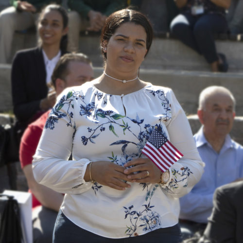 PATERSON, NJ  10-02-2019 NATURALIZATION CEREMONY AT GREAT FALLS:  The Paterson Great Falls National Historical Park (NPS), in partnership with U.S. Citizenship and Immigration Services (USCIS), held a naturalization ceremony in the park's new amphitheater where 40 new citizens, mostly residents of Paterson, took the Oath of Allegiance to the United States.