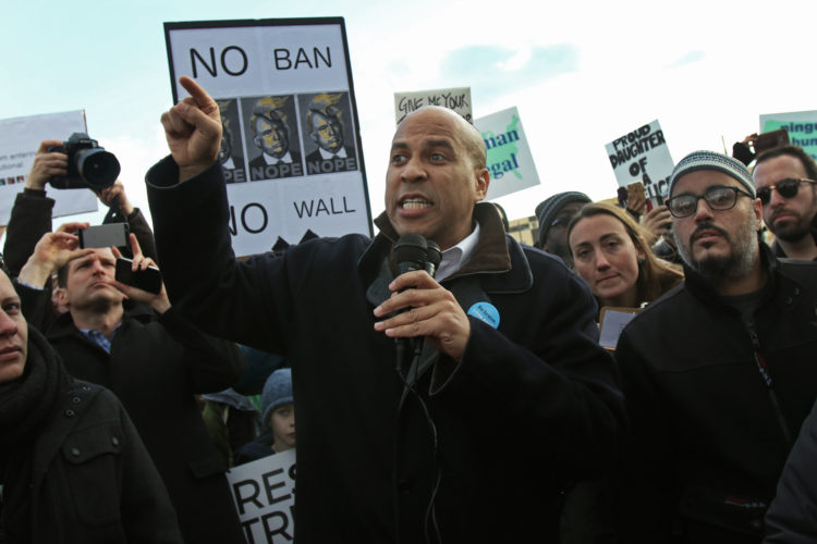 ELIZABETH, NJ  01-29-2016   MARCH AND RALLY IN SUPPORT OF IMMIGRANTS & REFUGEES: Se. Cory Booker spoke to the crowd and then joined in a march in support of immigrants and refugees at a rally today in Elizabeth outside the Homeland Security Detention Center. There were about 1,500-2,000 protesters at the rally and march.  -photo by Thomas E. Franklin tomefran@gmail.com  Phone: 201-669-2075c