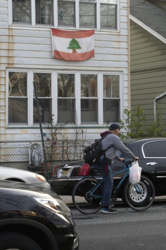 04-17-19 PATERSON, NJ:  A Lebanese flag hangs in front of a house in South Paterson.