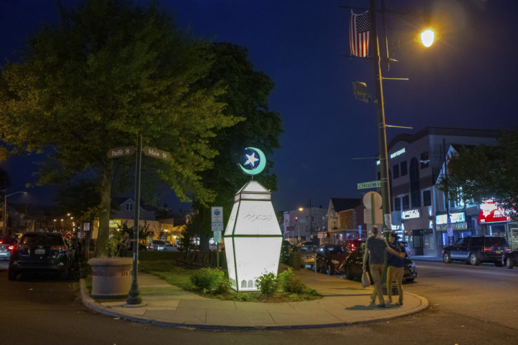 """05-04-19 PATERSON, NJ:  The Ramadan Mubarak lantern is illuminated at the South Paterson Park on Main Street to usher in the holy month of Ramadan. The lantern, called a fanous in Arabic, wishing the city's large Muslim community a happy Ramadan.6th Ward Paterson Councilman Al Abdellaziz, who helped start the tradition four years ago, said, """"We want this to become a destination, """"it's like the Muslim Rockefeller Center Christmas tree."""""""