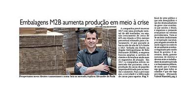 Embalagens M2B é capa do jornal O Diario do Comercio de 17-11-2017 - destacada