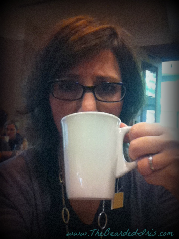 Leslie, sick at a blog conference, drinking tea and not talking.