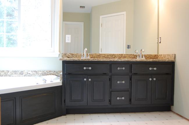 bathroom vanity after painting