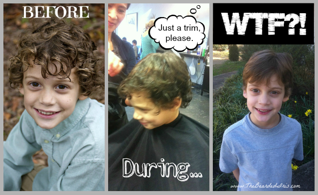 Before during and after of my son's worst haircut