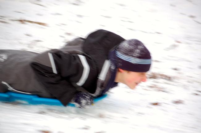 Blurry sledding pic