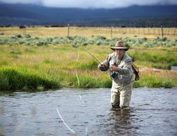 Man flyfishing in a river.