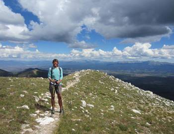 Hiker on a hilltop trail.