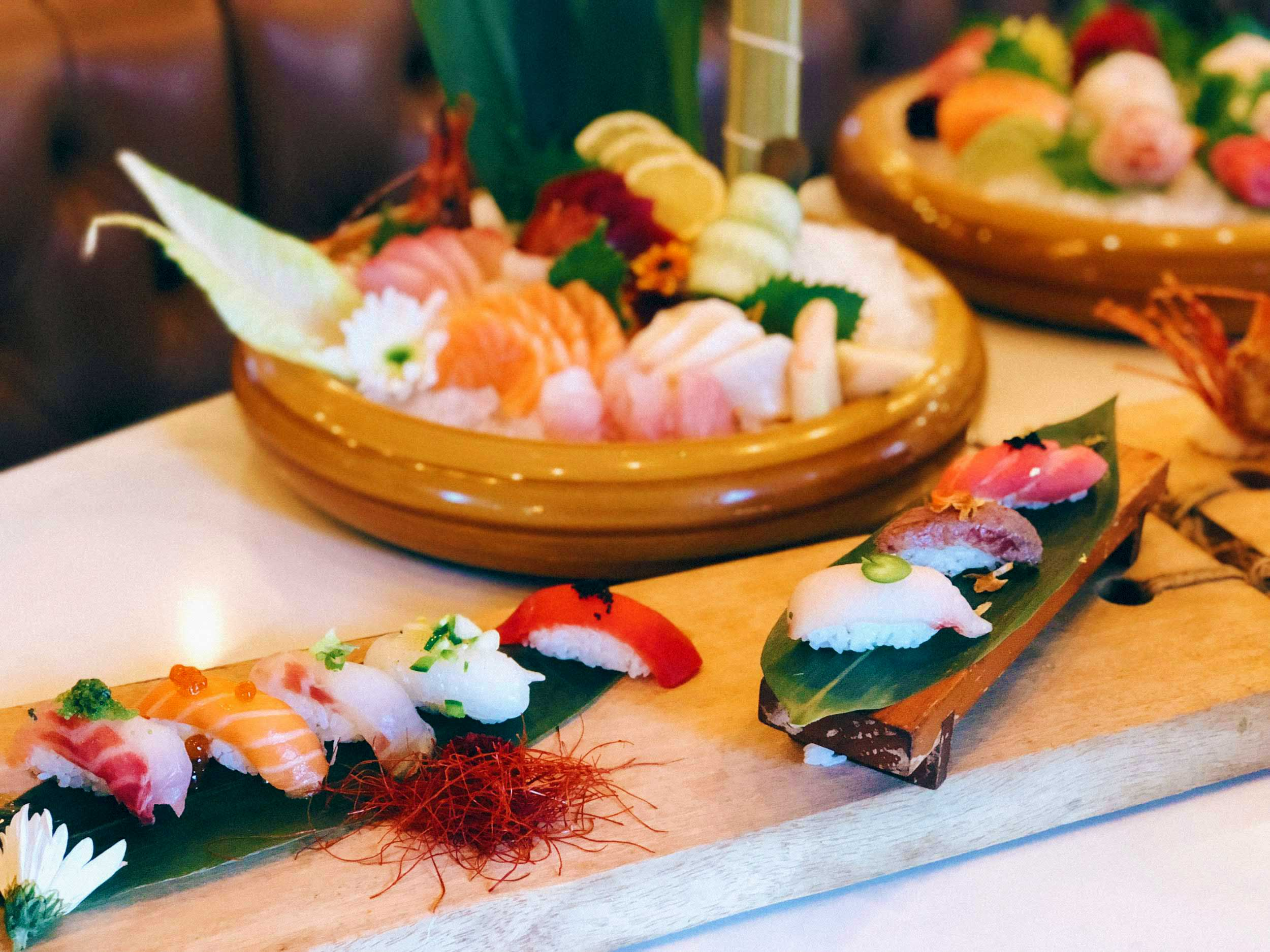 Freshly created sushi & sashimi dishes