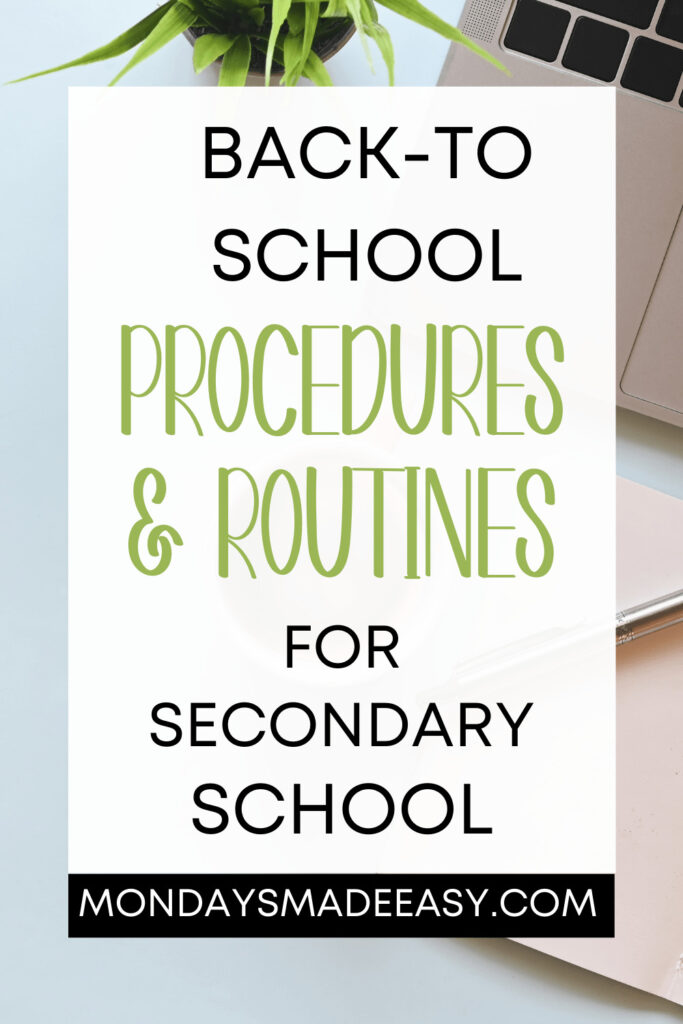 Back-to-School Procedures and Routines for Secondary School