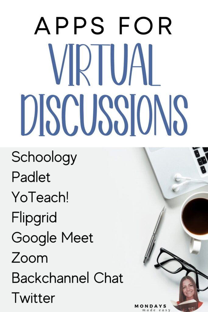 Apps and Tools for Virtual Discussions, including Padlet, Flipgrid, Google Meet, Zoom, YoTeach!, Backchannel Chat, and Schoology