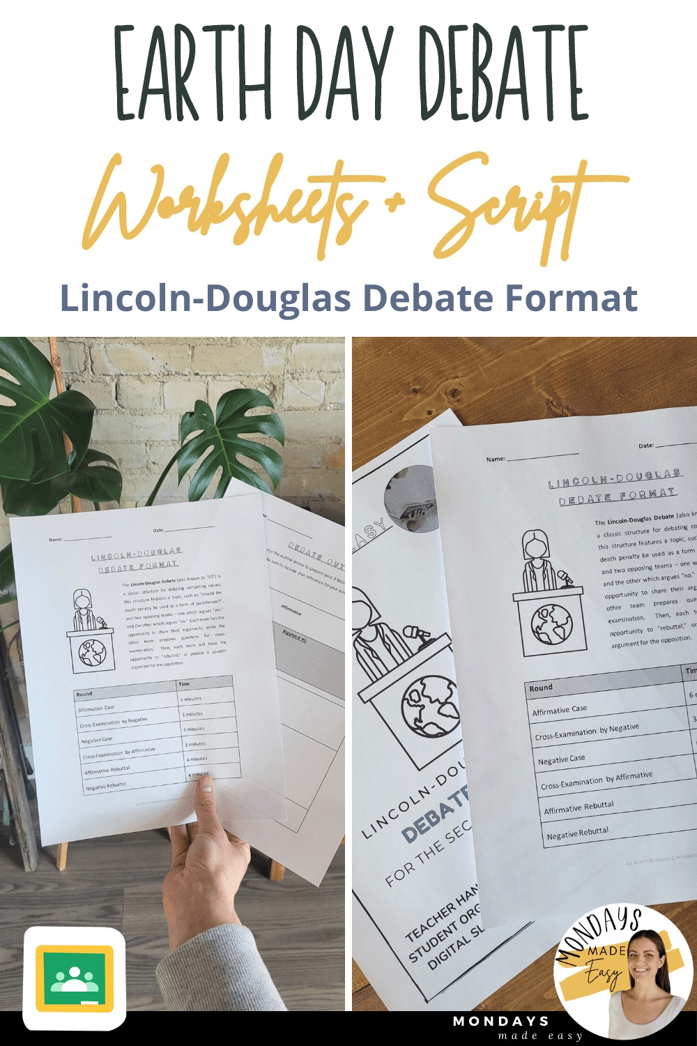 Earth Day Debate: Worksheets and Script for the Lincoln-Douglas Debate Format