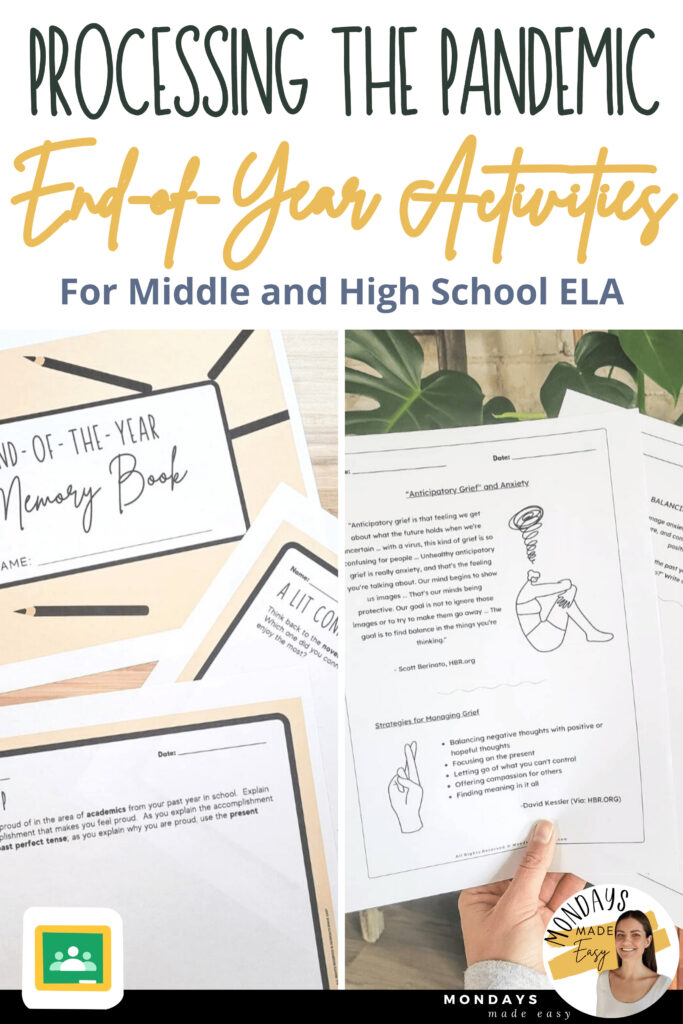 Try one of these social-emotional learning activities in your ELA classroom and guide students through a reflection of the past school year.  These end-of-the-year ideas are great for distance learning and in-person classrooms.
