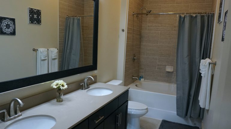 Full bathroom from the New York Design at Premier Patient Housing.