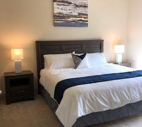 Master bedroom from the Florida Design at Premier Patient Housing. View from living room.