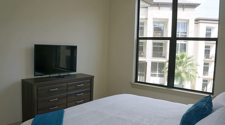 Master bedroom from the California Design at Premier Patient Housing. View from bath room.