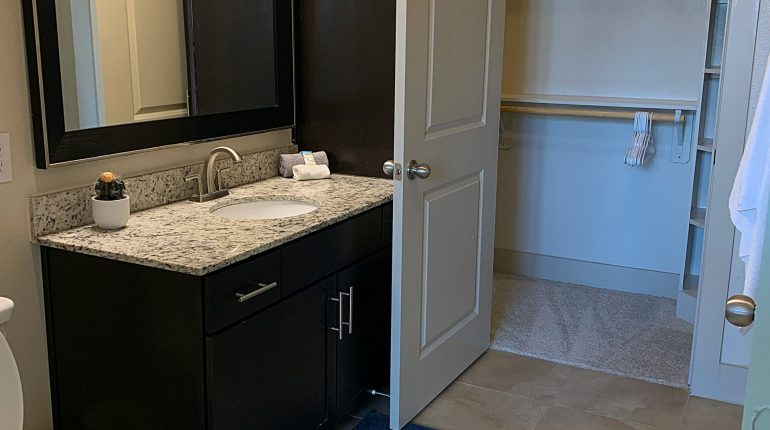 Master bathroom from the California Design at Premier Patient Housing.
