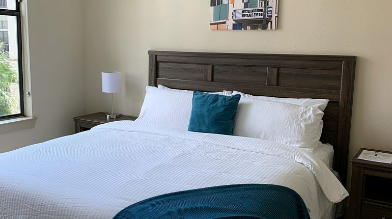 Master bedroom from the California Design at Premier Patient Housing. View from living room.