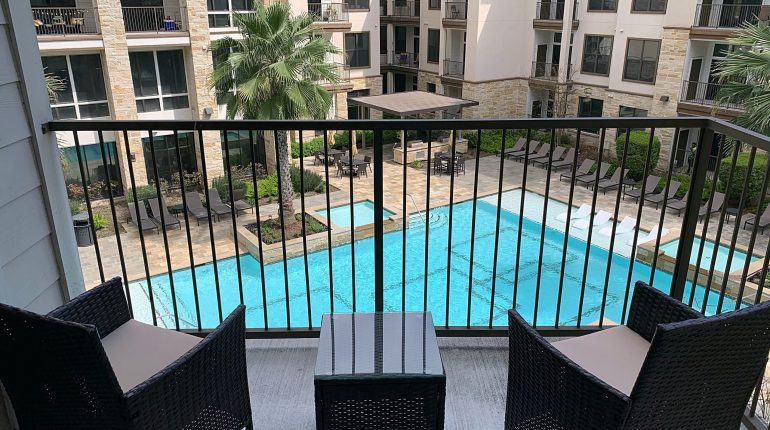 Balcony view from the California design at Premier Patient Housing.