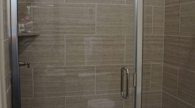 Master shower from the Ohio design at Premier Patient Housing.