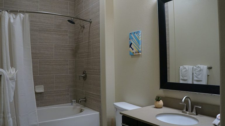 Full bathroom from the Ohio design at Premier Patient Housing.