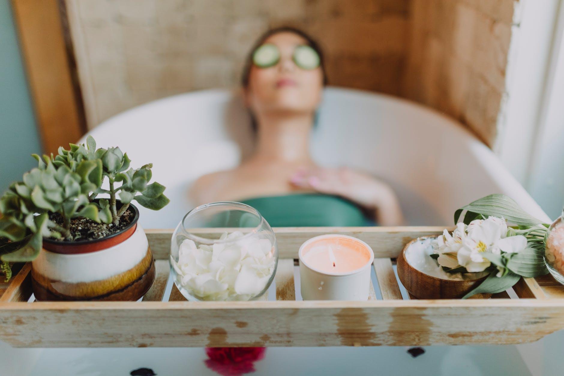 woman relaxing in bath tub