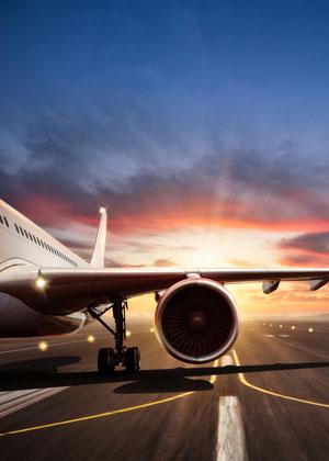 Plane Engine Sunset in Background