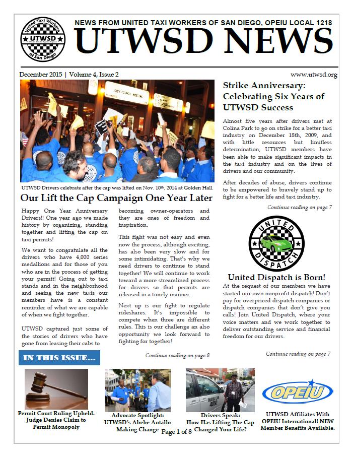 UTWSD NEWSLETTER – December 2015