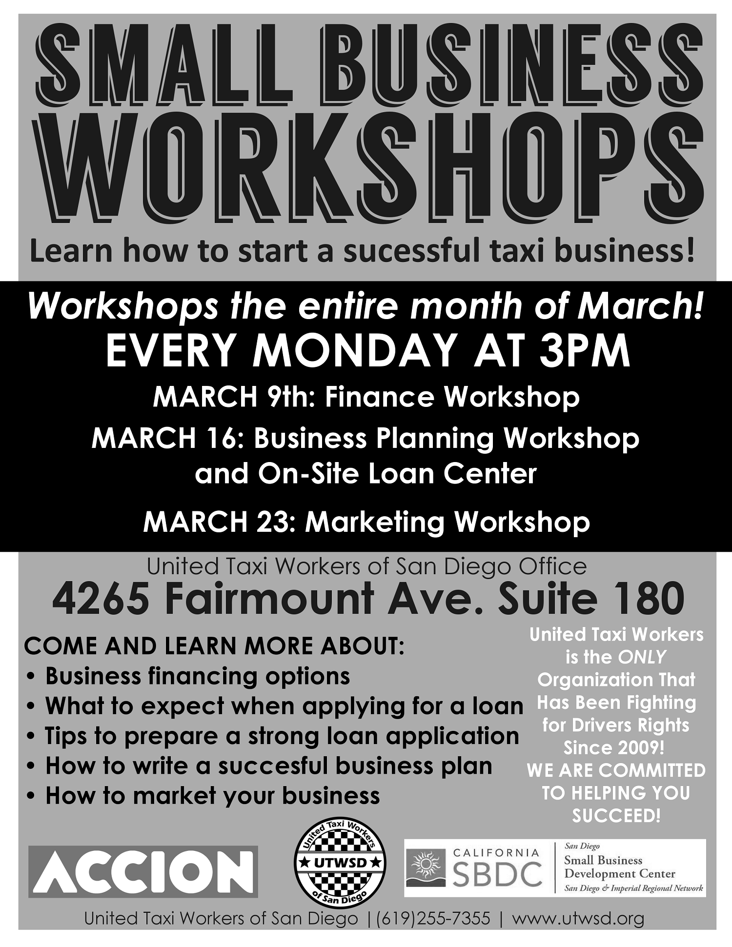 SMALL BUSINESS WORKSHOPS FOR DRIVERS!