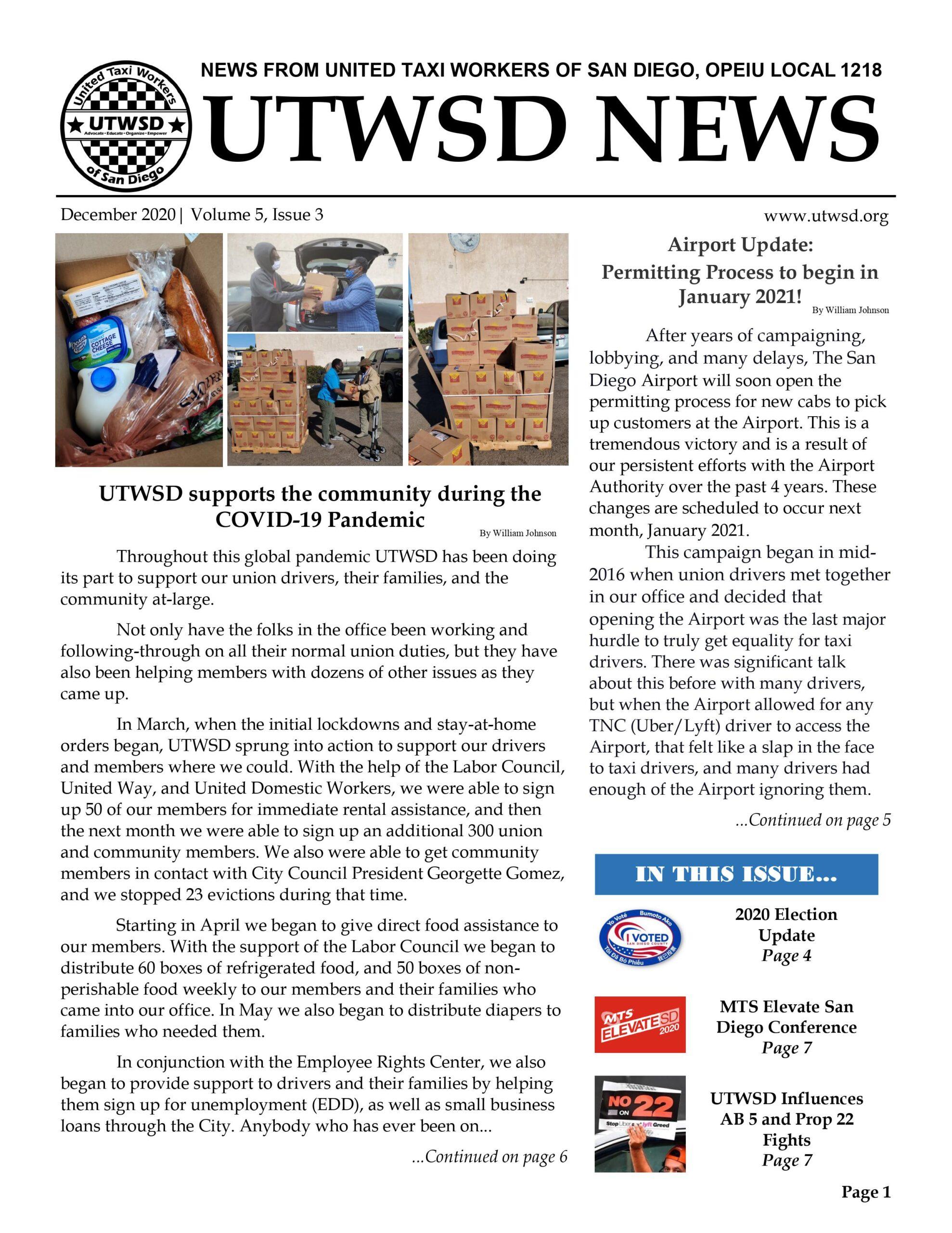 December 2020 UTWSD Newsletter