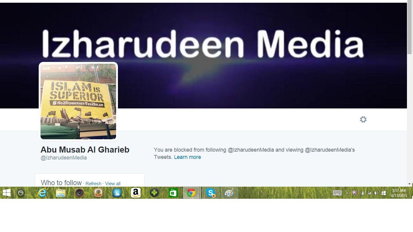 Blocked by 5 Abu Mussab Al Gharieb Iszhadeen Media