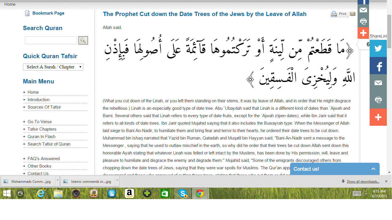 Mohammad cut down trees